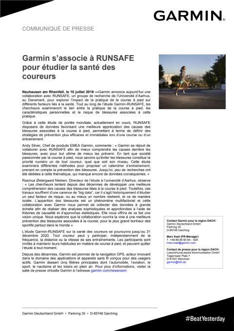 Garmin s'associe à RUNSAFE pour étudier la santé des coureurs