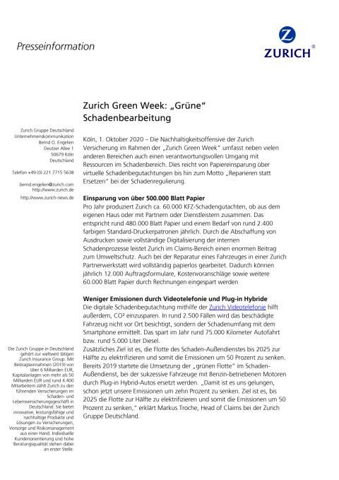 Pressemitteilung Grüne Schadenbearbeitung