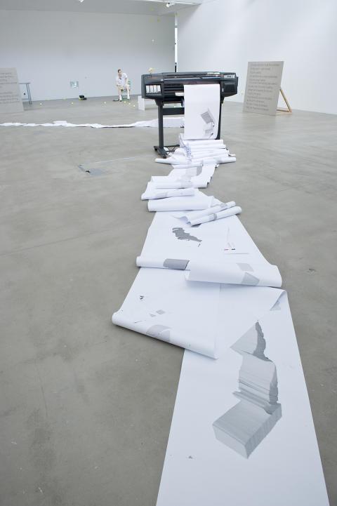 Joanna Hutton: sculpture; paper, HP Designjet printer, laptop