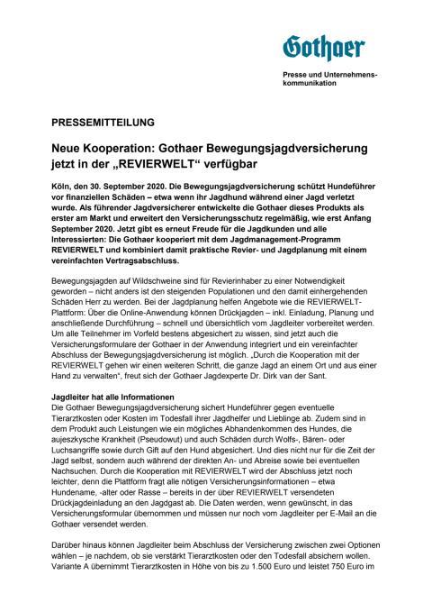 """Neue Kooperation: Gothaer Bewegungsjagdversicherung jetzt in der """"REVIERWELT"""" verfügbar"""