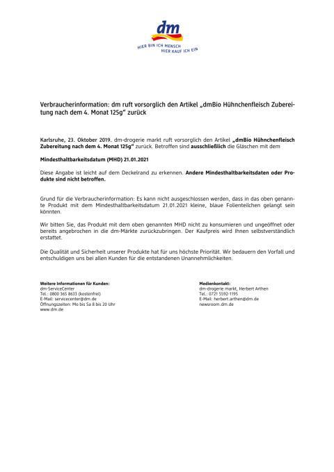 """Verbraucherinformation: dm ruft vorsorglich den Artikel """"dmBio Hühnchenfleisch Zuberei- tung nach dem 4. Monat 125g"""" zurück"""