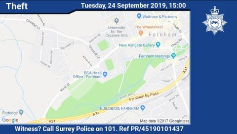 Appeal for witnesses following theft in Farnham earlier this week