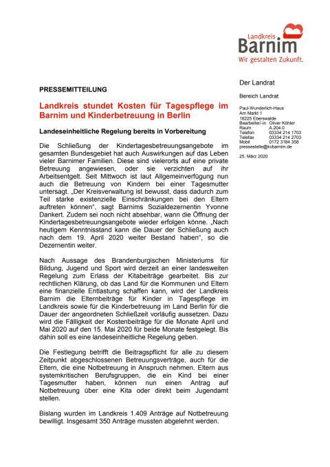 Landkreis stundet Kosten für Tagespflege im Barnim und Kinderbetreuung in Berlin