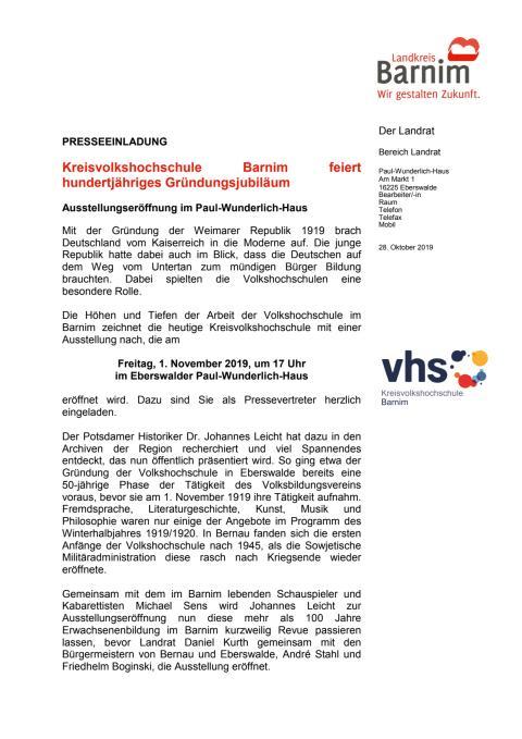 Einladung KVHS
