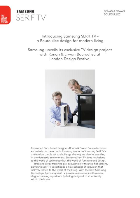Samsung & Bouroullec launch Serif TV