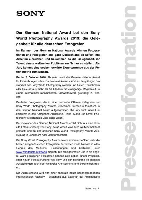 Der German National Award bei den Sony World Photography Awards 2019: die Gelegenheit für alle deutschen Fotografen