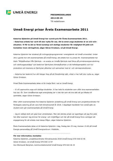 Umeå Energi prisar Årets Examensarbete 2011