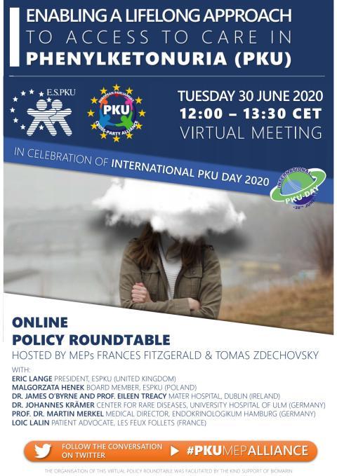 Ankündigunsposter Roundtable - EP Cross Party Alliance on PKU
