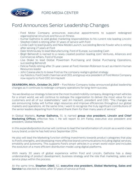 Ændringer i Fords direktion