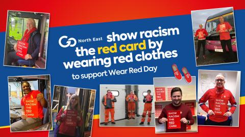 Go North East wears red to support and raise money for Show Racism the Red Card's Wear Red Day