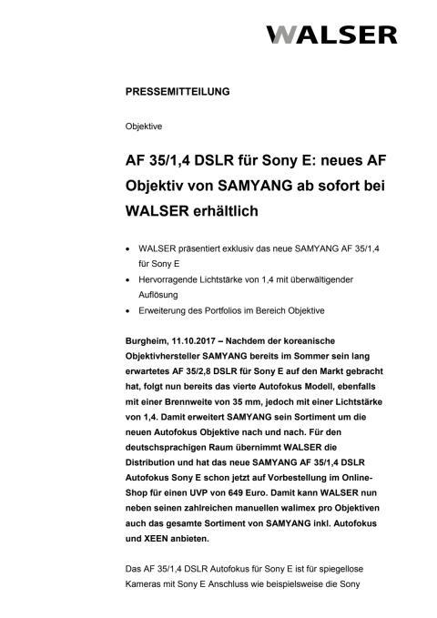 AF 35/1,4 DSLR für Sony E: neues AF Objektiv von SAMYANG ab sofort bei WALSER erhältlich