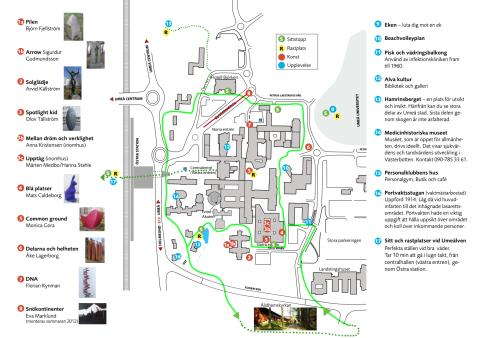 karta över umeå sjukhus Karta över promenadstråket runt Norrlands universitetssjukhus i  karta över umeå sjukhus