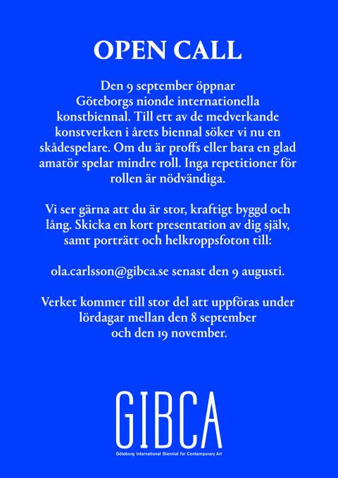 GIBCA söker skådespelare!