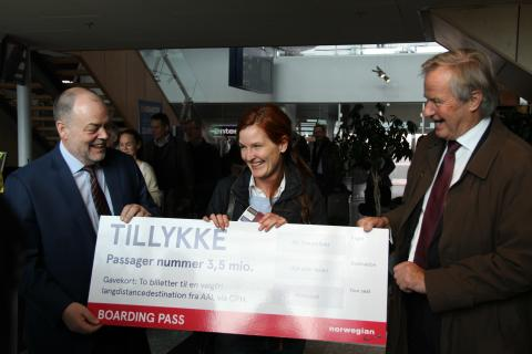 Norwegian-passager nummer 3,5 mio. i Aalborg