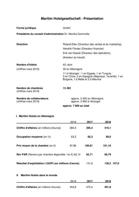 Maritim Hotelgesellschaft - Présentation 2019