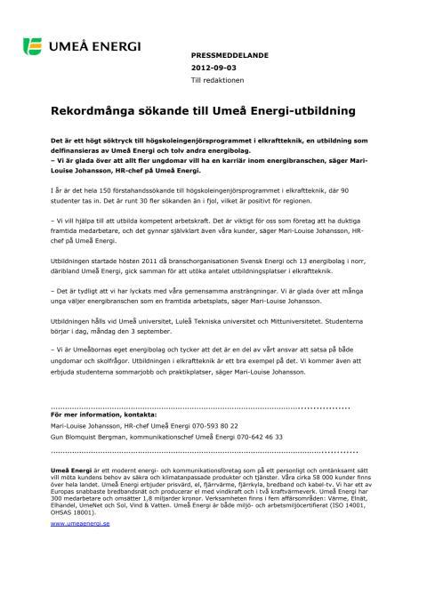 Rekordmånga sökande till Umeå Energi-utbildning