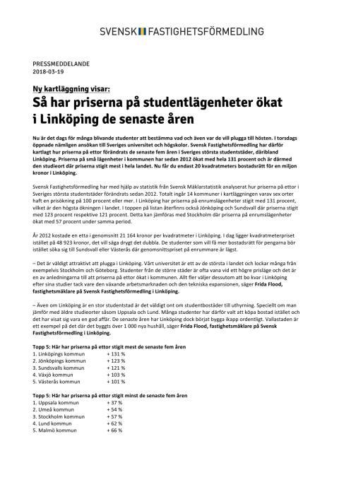 Ny kartläggning visar: Så har priserna på studentlägenheter ökat  i Linköping de senaste åren