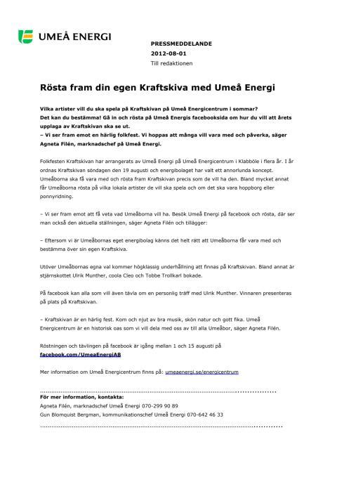 Rösta fram din egen Kraftskiva med Umeå Energi