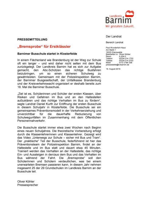 """""""Bremsprobe"""" für Erstklässler"""