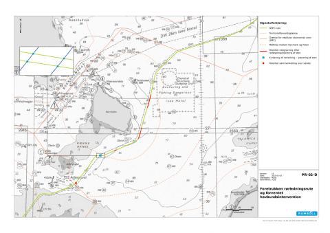 Kort over Nord Stream 2 linjeføring på dansk område