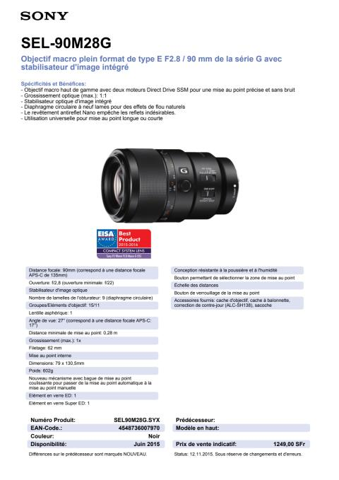 spécifications SEL-90M28G