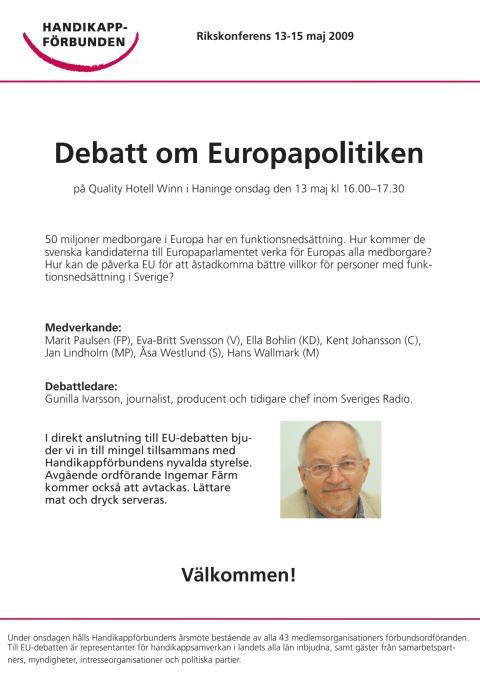 Handikappförbunden ordnar EU-debatt