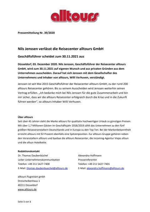 Nils Jenssen verlässt die Reisecenter alltours GmbH - Geschäftsführer scheidet zum 30.11.2021 aus