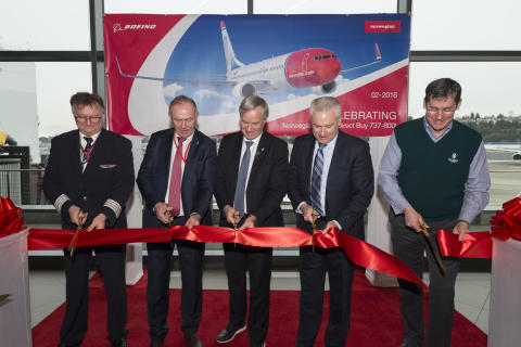 Ribbon cutting ceremony at Boeing Delivery Centre