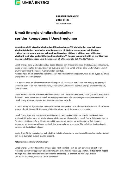 Umeå Energis vindkraftstekniker sprider kompetens i Umeåregionen
