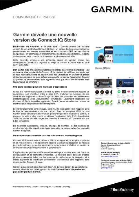 Garmin dévoile une nouvelle version de Connect IQ Store