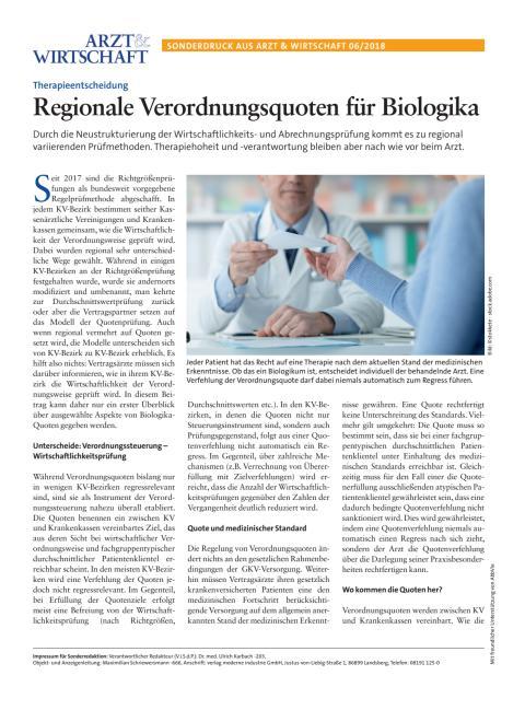 Wirtschaftliche Verordnung bei Biologika