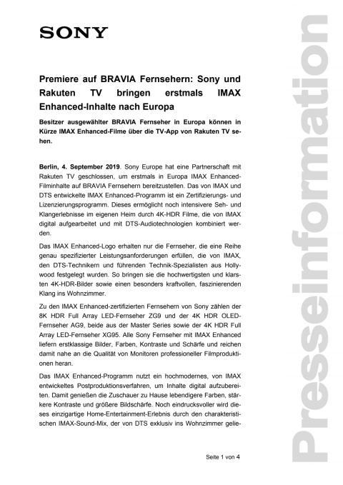 Premiere auf BRAVIA Fernsehern: Sony und Rakuten TV bringen erstmals IMAX  Enhanced-Inhalte nach Europa