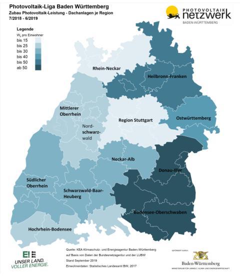 Photovoltaikliga Baden-Württemberg: Region Neckar-Alb liegt auf Platz 6 beim Solarstromausbau im Südwesten