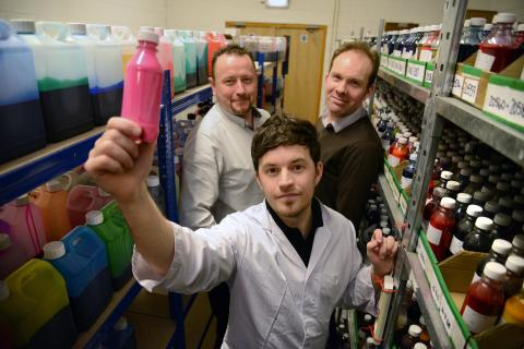 L-R: Multichem managing director Michael Nelson, Multichem product development manager Dr Tom Winstanley (front) and Professor Justin Perry of Northumbria University.
