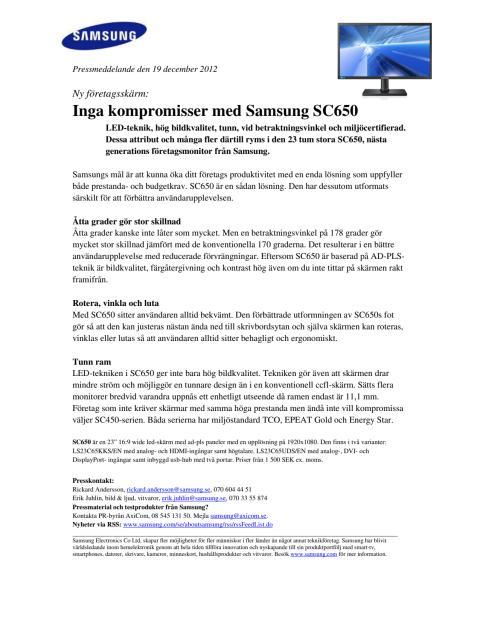 Ny företagsskärm: Inga kompromisser med Samsung SC650