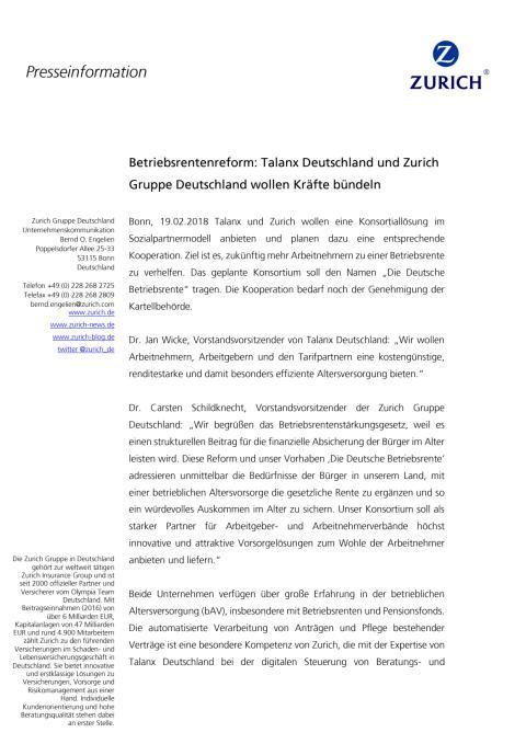 Betriebsrentenreform: Talanx Deutschland und Zurich Gruppe Deutschland wollen Kräfte bündeln