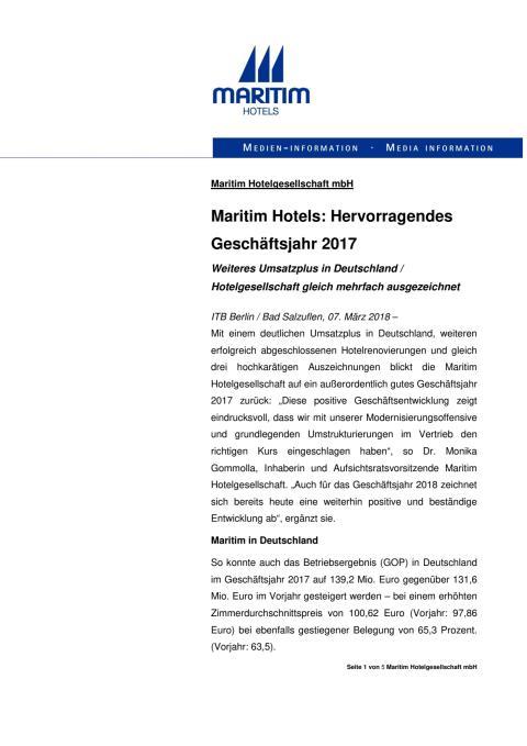 Maritim Geschäftsentwicklung 2017