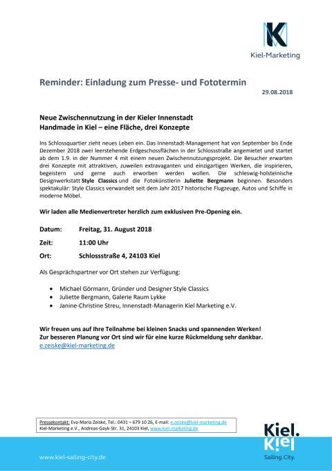 Erinnerung zur Presseeinladung - Pre Opening für Zwischennutzung