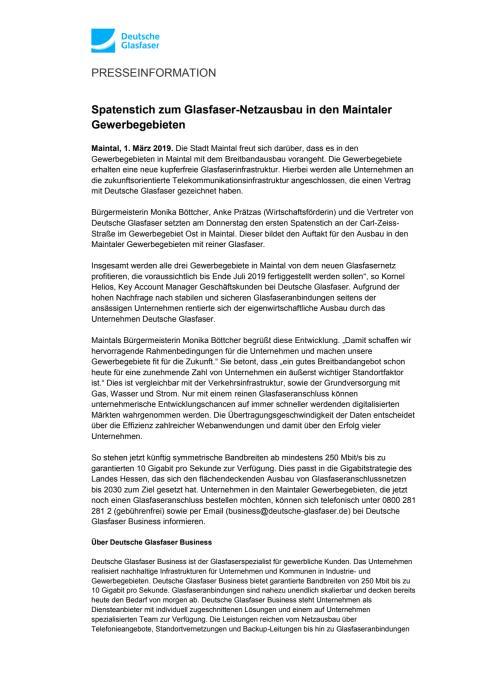 Spatenstich zum Glasfaser-Netzausbau in den Maintaler Gewerbegebieten