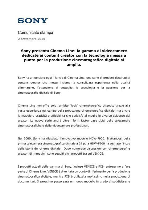 Sony presenta Cinema Line: la gamma di videocamere dedicate ai content creator con la tecnologia messa a punto per la produzione cinematografica digitale si amplia.