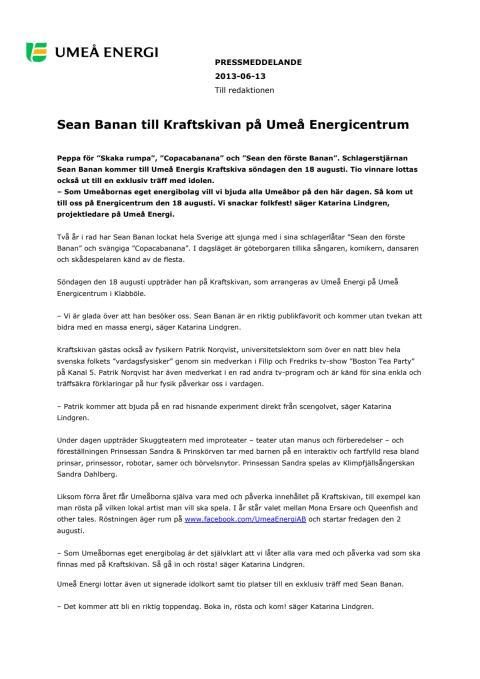 Sean Banan till Kraftskivan på Umeå Energicentrum