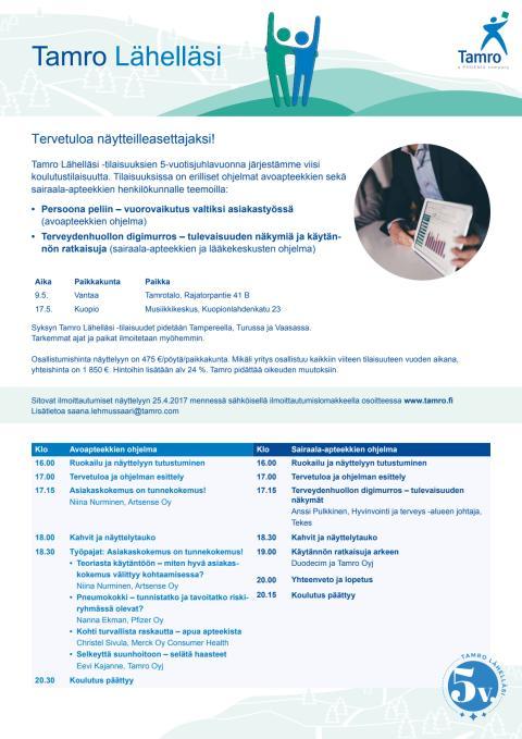 Tamro Lähelläsi -tilaisuuksien aikataulu ja ohjelma / näytteilleasettajat