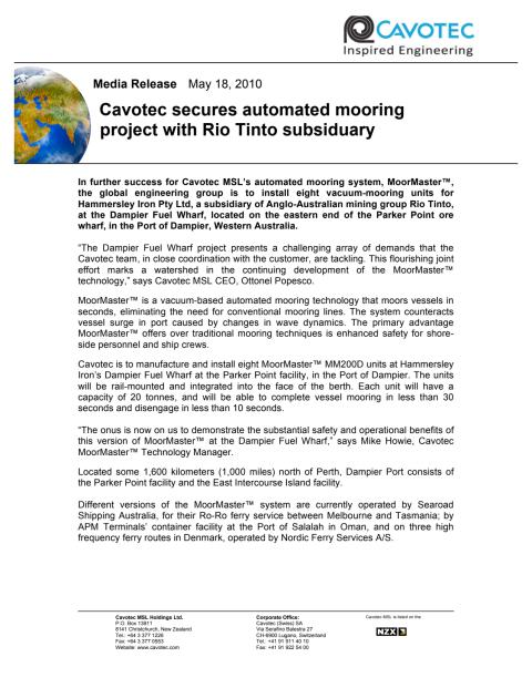 Cavotec secures automated mooring project with Rio Tinto subsiduary