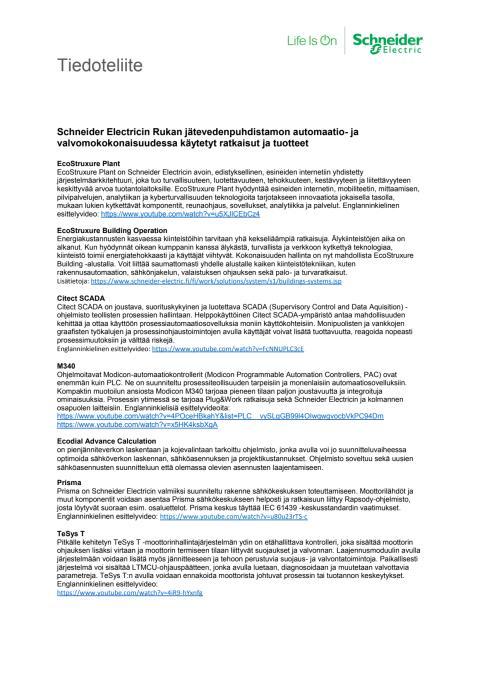Schneider Electricin Rukan jätevedenpuhdistamon automaatio- ja valvomokokonaisuudessa käytetyt ratkaisut ja tuotteet