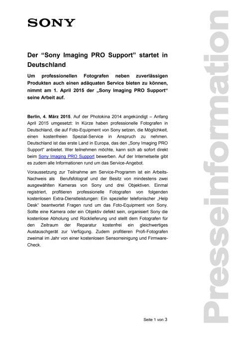 """Der """"Sony Imaging PRO Support"""" startet in Deutschland"""