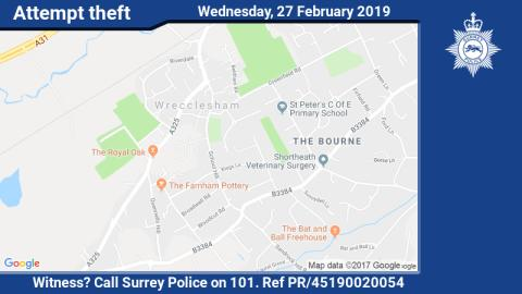 Can you help following attempt theft of cash machines in Bagshot and Farnham?