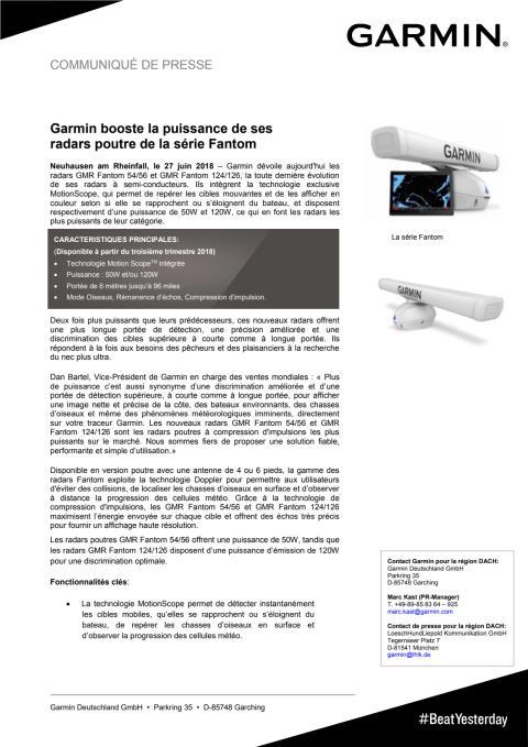Garmin booste la puissance de ses radars poutre de la série Fantom
