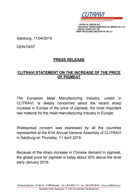 Pressrelease Clitravi: CLITRAVI STATEMENT ON THE INCREASE OF THE PRICE OF PIGMEAT