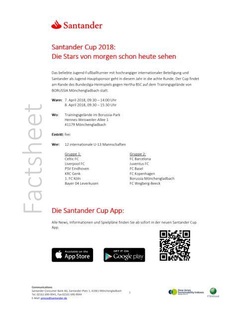 Factsheet Santander Cup 2018