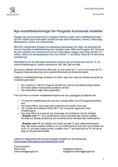 Nya modellbeteckningar för Peugeots kommande modeller